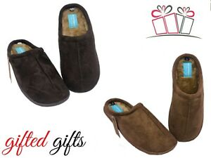 TAN BROWN MEN'S SLIPPERS  FUR LINED SLIP ON MULE  Fathers Day Gift Present