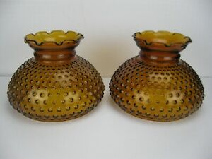 """Lot of 2 Matching Vintage Hurricane Lamp Amber Glass Hobnail Shades 7"""" Fitter"""