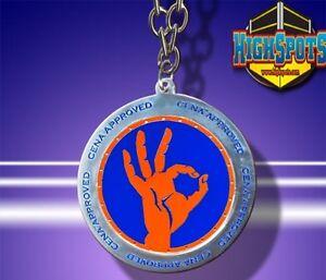 WWE John Cena Approved Spinner Pendant Necklace, Wrestling Orange/Blue Chain