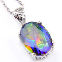 Gorgeous Shiny Oval Natural Rainbow Mystic Topaz Silver Pendants with Free Chain