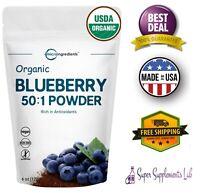 ORGANIC BLUEBERRY POWDER 50:1 Concentrate 6 Oz Antioxidant Vegan Smoothie
