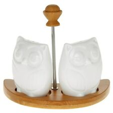 cruet owl set wooden white bamboo stand ceramic salt and pepper shakers gift