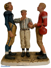 "Norman Rockwell Dave Grossman"" The Toss"" Football Coin Toss So Cute 6 1/2"" Tall"