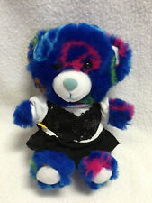 Build A Bear Smallfry Blue Peace Sign Plush Teddy Sequin Vest Black Skirt Outfit