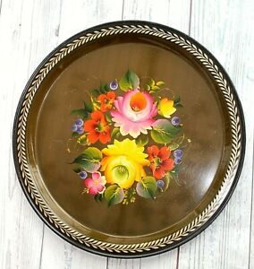 """Barge ware canal art tray Beautiful example Metal Roses Berries 12.5"""" Vintage os"""