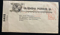 1940s Mexico City Mexico Commercial Censored  Meter Cancel Cover To Caibarien