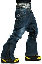 SOUTH PLAY Top Quality Ski Snowboard Waterproof Snow Pants Trousers Blue Jeans