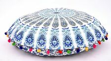 Indian Ottoman Large Floor Pillows Mandala Tapestry Round Cushions Case Pom Pom