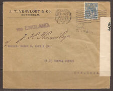 NETHERLANDS. WW1. 1917. PERFIN ON CENSORED COMMERCIAL COVER. J. T. V. &Co. ADDRE