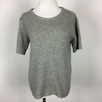 Calypso St Barth S Small Pullover Sweater Cashmere Gray Heather Short Sleeve
