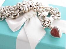 Auth Tiffany & Co Silver Heart Carnelian Onyx Charm Necklace In Box