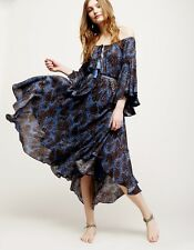 NWT Free People Midi Maxi Dress blue brown Off The Shoulder Swing S