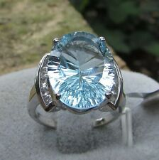 10.34 cts Genuine Sky Blue Topaz Solitaire Size 7 Ring 925 Sterling Silver