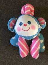 Plush 1993 Fisher Price Monkey Stuffed Animal Pink Blue