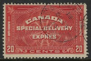 """Scott E5: 20c Henna Brown """"CENTS"""" Special Delivery, 1934 Toronto Ontario, VF-CDS"""