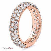 2.55 ct pave set Wedding Bridal Engagement Band Ring Solid 14kt Rose Gold