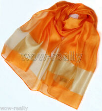 2014 New Women's Fashion Long Soft 100% silk Flax Wrap Orange Shawl Scarf Scarve