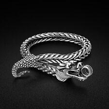 Genuine Solid Sterling Silver Thai Silver Dragon Bangle Men's Bracelet PB338