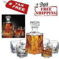 Whiskey Decanter Crystal Glasses Set Ornate Stopper Luxury Elegant Gift 7 Glass