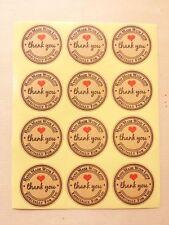 Sticker THANK YOU Hand Made With Love ♥ Bastelzubehör Runde Aufkleber Ø 30mm