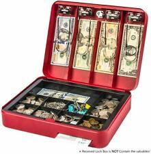 Cash Drawer Register Box Money Tray Case Travel Storage Key Lock Safe Red NEW