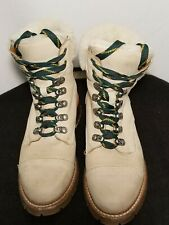 FRYE Women Military Combat Boots Oatmeal Suede Leather Lace Up Sz 8
