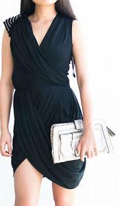 BNWT $685 RACHAEL GILBERT GINI Black Party Drape Mermaid Dress Race Size 0 6
