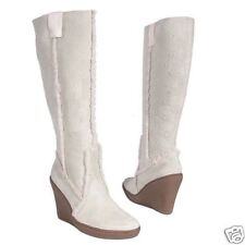 Suede Wedge Boot - Beige Size 9