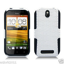 HTC One SV Boost Cricket MESH HYBRID CASE SKIN COVER ACCESSORY WHITE BLACK