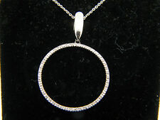 "14k White Gold Diamond Circle Pendant necklace with 18"" link Chain"