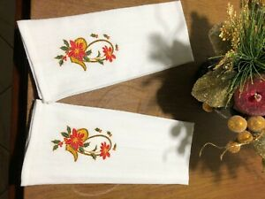 2 Embroidered Kitchen Tea Towels Poinsettia basket Christmas design FREE SHIPNG
