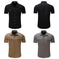Mens Military Shirt Short Sleeve Double pocket Casual Epaulet Shirt Cotton Tops