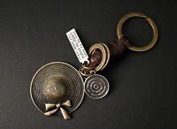 AuPra Women Hat Keyring  | Leather Vintage Keychain | Key Ring Pendant Gifts