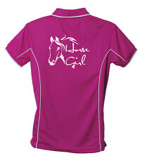HORSE POLO SHIRT HORSE GIRL BRAND NEW MANY COLOURS TO CHOOSE FROM