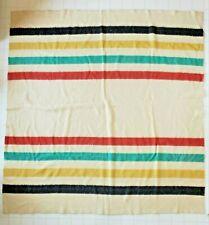 "Vintage Faribo 4-Stripe Cream Wool Blanket 74"" x 83"""