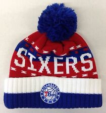 NBA Philadelphia 76ers Adidas Cuffed Pom Winter Knit Hat Cap Beanie Style #KX04Z
