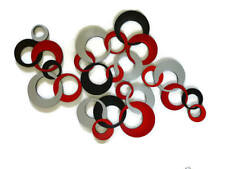 Emperors Red & Silver Circles Wall Sculpture, Modern Circle Wall Hangings, 57x36