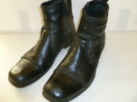 Bed Stu Black Leather Ankle Boots Mens US size 11 Side Zip large stitch