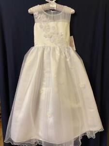 Bonnie Jean White Communion/Flower Girl Dress Size 8 NWT