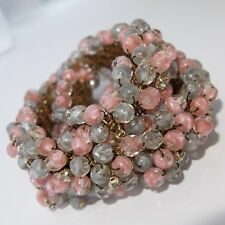 VINTAGE BEADED PINK & LAVENDER ART GLASS RHINESTONE CHOKER COLLAR NECKLACE