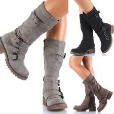 Womens Zipper Buckle Mid Calf Boots Vintage Buckle Sz35-43 Combat Vintage Shoes