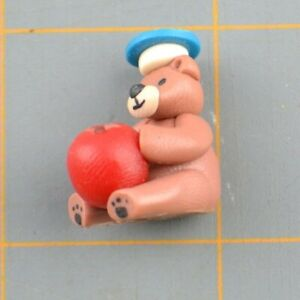 Miniature Bear Holding Apple With Blue Hat Small Tiny Animal Figurine Doll House
