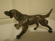 OLD  DOG STATUE FIGURINE - Silver Plated Metal - very good condition