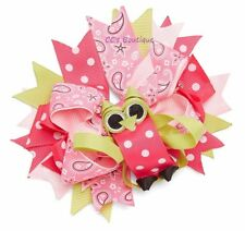 "Girls BOUTIQUE hair bow NEW pink sage owl 6"" polka dot layers clip fancy custom"