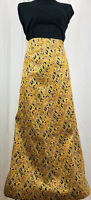 Vintage Brocade Maxi Long Skirt 1960s 1970s Gold Tone Women's Size Small XS