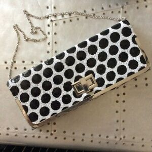 DUNE SEQUIN SPOTTY LARGE LINED CLUTCH BAG WITH CHAIN HANDLE NEW