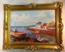 Boote Meer Boot Gerahmte Gemälde 90x70 Landschaftsbild See Boot Bilder