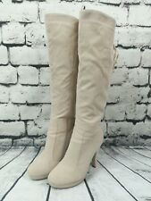 MILANA Women's Tan Faux Suade Lace Up Detail Tall Knee Boots Side Zip SIZE US 9