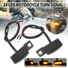 2x Motorcycle LED Turn Signal Lamp Sequential Flowing Indicator Light Amber 12V