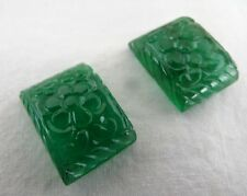 43 CTS NATURAL CERTIFIED EMERALD CARVED PAIR GEMSTONE FOR EARRING